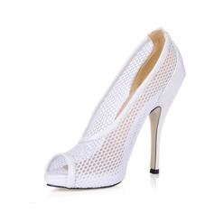Women's Leatherette Stiletto Heel Peep Toe Pumps Sandals