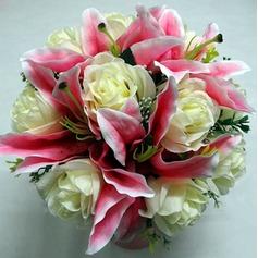 Fancy Round Satin Bridal Bouquets