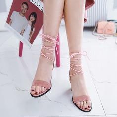 Dla kobiet Zamsz Obcas Slupek Sandały Czólenka Otwarty Nosek Buta Bez Pięty Z Sznurowanie obuwie