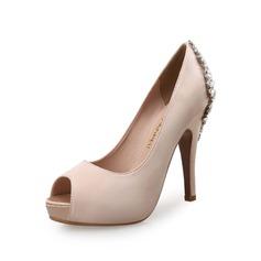 Kvinner Semsket Silke Kjegle Hæl Platform Titte Tå med Rhinestone sko