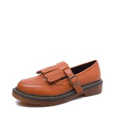 Women's Leatherette Flat Heel Flats With Buckle Tassel shoes