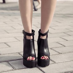 Women's Leatherette Chunky Heel Boots Peep Toe Ankle Boots With Buckle shoes