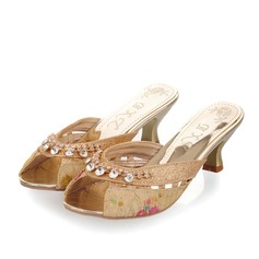 Women's Leatherette Low Heel Peep Toe Slingbacks Slippers With Crystal Stitching Lace Hollow-out shoes
