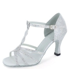 Women's Sparkling Glitter Heels Sandals Latin With T-Strap Dance Shoes