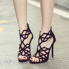 Women's Suede Stiletto Heel Sandals Pumps Peep Toe Ankle Boots With Zipper Hollow-out shoes
