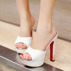 Women's Leatherette Chunky Heel Sandals With Imitation Pearl Sparkling Glitter shoes