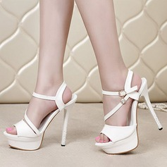Women's Patent Leather Stiletto Heel Sandals Pumps Platform Peep Toe With Rhinestone shoes