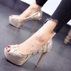 Women's Leatherette Stiletto Heel Sandals Platform Peep Toe With Hollow-out shoes