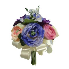 Elegant Hand-tied/Round Satin Bridesmaid Bouquets