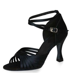 Satin Heels Sandals Latin Dance Shoes With Ankle Strap