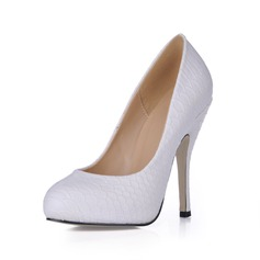 Women's Leatherette Stiletto Heel Closed Toe Platform Pumps