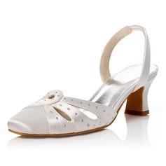 Women's Satin Stiletto Heel Closed Toe Pumps With Buckle Rhinestone