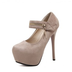 Women's Suede Stiletto Heel Pumps Platform Closed Toe With Zipper shoes
