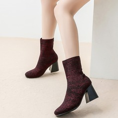 Women's Cloth Chunky Heel Boots Mid-Calf Boots With Others shoes