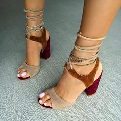 Femmes Suède Talon bottier Sandales avec Dentelle chaussures