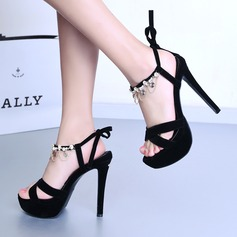 Women's Suede Stiletto Heel Sandals Flats With Crystal Lace-up Tassel shoes