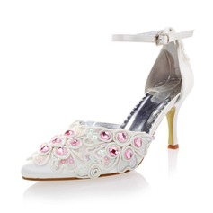 Women's Silk Like Satin Stiletto Heel Closed Toe Pumps With Buckle Rhinestone Flower