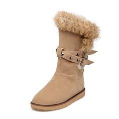 Dla kobiet Skóra ekologiczna Płaski Obcas Platforma Zamknięty Toe Połowy łydki buty Z Klamra obuwie