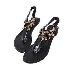 Konstläder Flat Heel Sandaler Slingbacks med Kedja skor