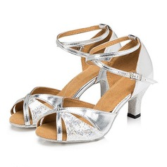 Women's Sparkling Glitter Sandals Pumps Latin With Buckle Hollow-out Dance Shoes