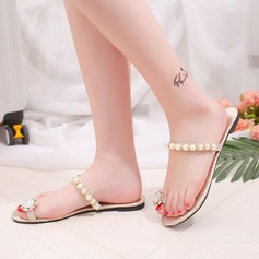 Women's PU Flat Heel Sandals Slippers With Imitation Pearl shoes