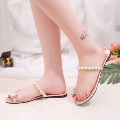 Kvinnor PU Flat Heel Sandaler Tofflor med Oäkta Pearl skor