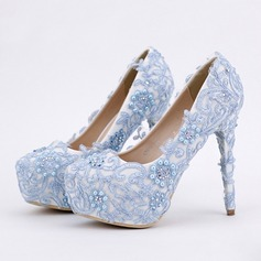 Women's Leatherette Stiletto Heel Closed Toe Platform Pumps With Imitation Pearl Rhinestone