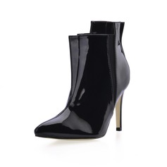 Patent Leather Stiletto Heel Closed Toe Ankle Boots