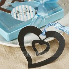 Coração dentro de um coração Aço inoxidável Marcadores com Franja