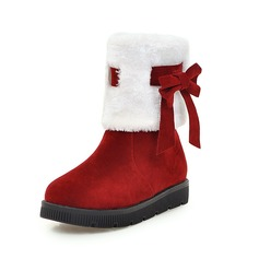 Women's Suede Flat Heel Ankle Boots Snow Boots With Bowknot Fur shoes