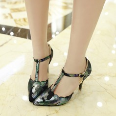 Women's Leatherette Stiletto Heel Pumps Closed Toe Mary Jane With Buckle Others shoes