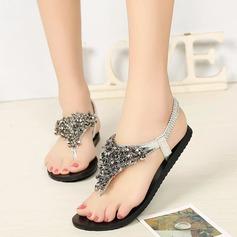 Women's Leatherette Flat Heel Sandals Peep Toe Slingbacks With Rhinestone Elastic Band shoes