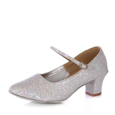 Women's Sparkling Glitter Heels Pumps Latin With Buckle Dance Shoes