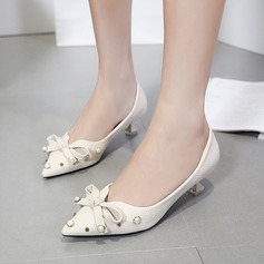 Women's PU Spool Heel Pumps Closed Toe With Bowknot Imitation Pearl shoes