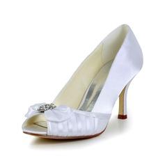 Women's Satin Cone Heel Peep Toe Pumps Sandals With Bowknot Rhinestone