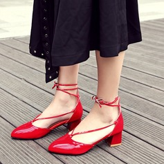 Women's Patent Leather Chunky Heel Sandals Pumps Closed Toe With Lace-up shoes