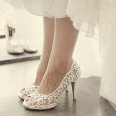 Femmes Dentelle Talon stiletto À bout ouvert Plateforme Beach Wedding Shoes avec Strass