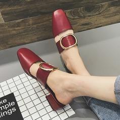 Kvinner PU Stor Hæl Flate sko sko