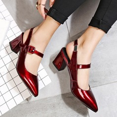 Women's Patent Leather Chunky Heel Pumps Closed Toe Slingbacks Mary Jane With Buckle shoes