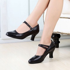 Women's Real Leather Pumps Ballroom Character Shoes With Ankle Strap Dance Shoes