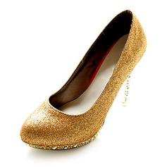 Couro Espumante Glitter Salto agulha Bombas Plataforma Fechados com Salto de cristal sapatos