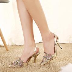 Femmes Similicuir Talon stiletto Escarpins avec Strass chaussures