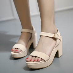 Women's Leatherette Chunky Heel Sandals Wedges Peep Toe With Buckle shoes