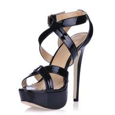 Piel brillante Tacón stilettos Sandalias Plataforma Solo correa con Hebilla zapatos