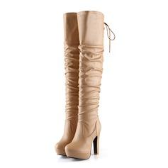 Mulheres Couro Salto robusto Bota no joelho com Ruched sapatos
