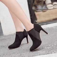 Frauen Veloursleder Stöckel Absatz Absatzschuhe Stiefel Stiefelette Schuhe