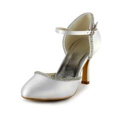 Satin Plastic Stiletto Heel Closed Toe Pompy Buty ślubne Z Rhinestone