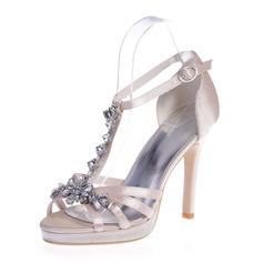 Kadın Satin İnce Topuk Peep Toe Platform Sandalet Ile Toka Yapay elmas