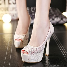 Women's Lace Stiletto Heel Peep Toe Platform Pumps Sandals