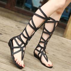 Femmes Similicuir Talon plat Escarpins À bout ouvert chaussures